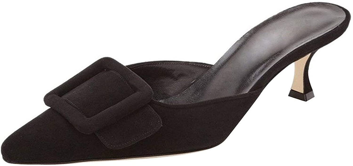 Fericzot Mule Slippers for Women Pumps Pointed Colorado Springs Mall Buckle Ranking TOP4 Slingback