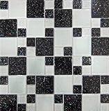 1qm Glas Mosaik Fliesen Matte Schwarz und Weiß Steine in Zwei Größen mit Glitzer (MT0047 m2)