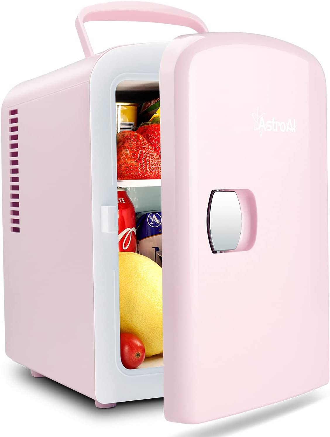 AstroAI Mini Fridge, 4 Liter/6 Can AC/DC Portable Thermoelectric Cooler and Warmer Refrigerators for Skincare, Beverage,Foods, Medications, Home and Travel, ETL Listed (Pink)