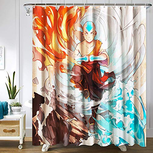 LUA Avatar The Last Airbender Shower Curtain Set Anime Merchandise for Bathroom Decor Machine Washable Waterproof Fabric Shower Curtains with Hooks 72x72in