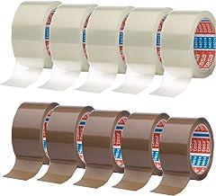 Timtina® Plakband - 10 rollen kleurenmix (10 rollen, kleurenmix 5xbruin + 5X helder)
