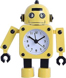 Lekrum och barnsovrum Wake Up Light väckarklocka för vardagsrum gul söt metall robot väckarklocka för barn med tyst rörels...