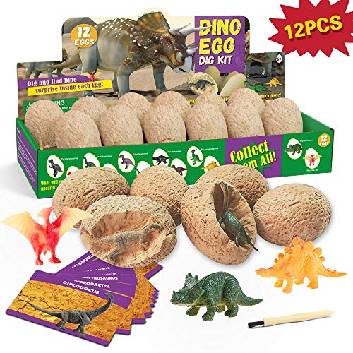 XXTOYS Dino Egg Dig Kit Dinosaur Eggs 12 Dinosaur Excavation Kits with 12 Unique Dinosaur Toys Dinosaur Dig for Kids Easter Party Archaeology Paleontology Educational Science Gift