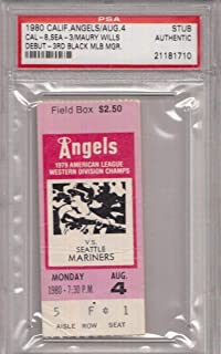 Maury Wills MLB Managerial Debut 1980 Angels Slab Ticket Stub PSA 132068