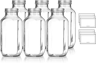 16 oz / 480 ml Clear Thick Plated Glass French Square Empty Bottle Jar with Metal Silver Lid (6 Pack) Perfect for Home, Travel, Juicing, Kombucha