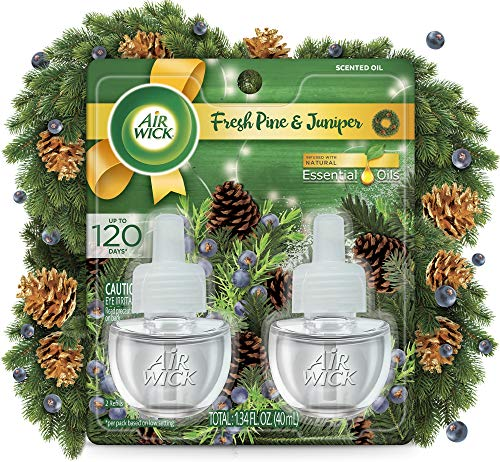 Air Wick Plug in Scented Oil 2 Refills, Fresh Pine and Juniper, Fall scent, Fall spray, (2x0.67oz), Essential Oils, Air Freshener, Packaging May Vary
