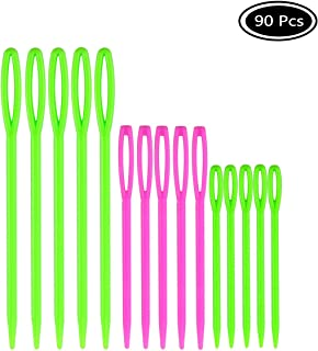 Faxco 90 Pcs Plastic Large-Eye Needles, Plastic Sewing Needles for Knitting Sweaters Scarfs Socks(3 Sizes)