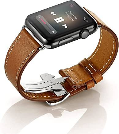 Elobeth Compatible for Apple Watch Band,Single Tour iwatch Band Apple Watch Leather Band, iWatch Band Genuine Leather Band Wrist Watch Band with Adapter for Apple Iwatch(Deployment Buckle-Brown 42mm)