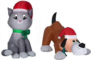 Christmas Dog and Cat Inflatable. Holiday Kitten Decorated with Holiday Hat and Scarf Playing with A Playful Puppy. Indoor Or Outdoor Air Blown Christmas Decorations.