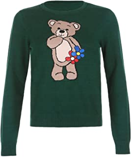 None/Brand Bear Embroidery Knitted Sweater Pullover Fashion Green Autumn Winter Sweater Ladies Pullover Pull Snakeskin Y2k...