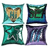 Glitter Pillow, MOCOFO Set of 4 Reversible Sequins Pillow Cover Magic Mermaid Sequence Pillowcase Parkly Fun Flip Throw Pillow Teal Gold Purple Couch Color Changing Decor Cushion Covers for Sofa16X16