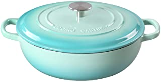 EDGING CASTING Enameled Cast Iron Dutch Oven Shallow Casserole Braiser with Dual Handle, 3.8-QT, Peacock blue