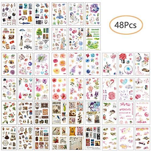 Ritte Scrapbooking Aufkleber, Japanische Papieraufkleber, 48 Blatt Fotoalbum Dekoration Tagebuch Album Stick Label für Tagebuch Scrapbook Kalender Notizbuch Fotoalbum DIY Dekoration (Set B)