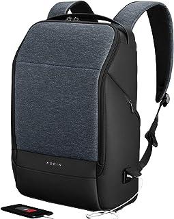 KORIN Design FlexPack Pro - Mochila de viaje multifuncional y antirrobo, para portátil de 15,6 pulgadas, con puerto de carga USB 2.0, gran capacidad, impermeable, TSA