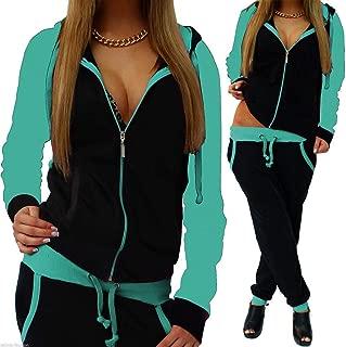 Dreamyth-sets 2Pcs Women Tracksuit Splice Zipper Hooded Long Sleeve Pullover Shirt Sport Tops+Long Pants