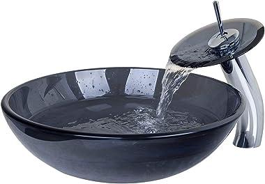 OUBONI Modern Tansparent Artistic Glass Bathroom Vessel Sink Faucet & Pop up Drain Combo Artistic Glass Vessel Vanity Sink