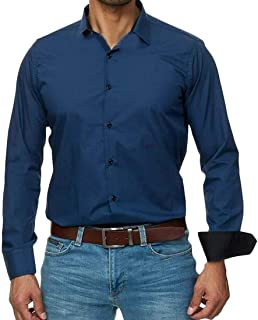 Mens Slim Fit Long Sleeves Solid Button Down Casual Dress Shirt