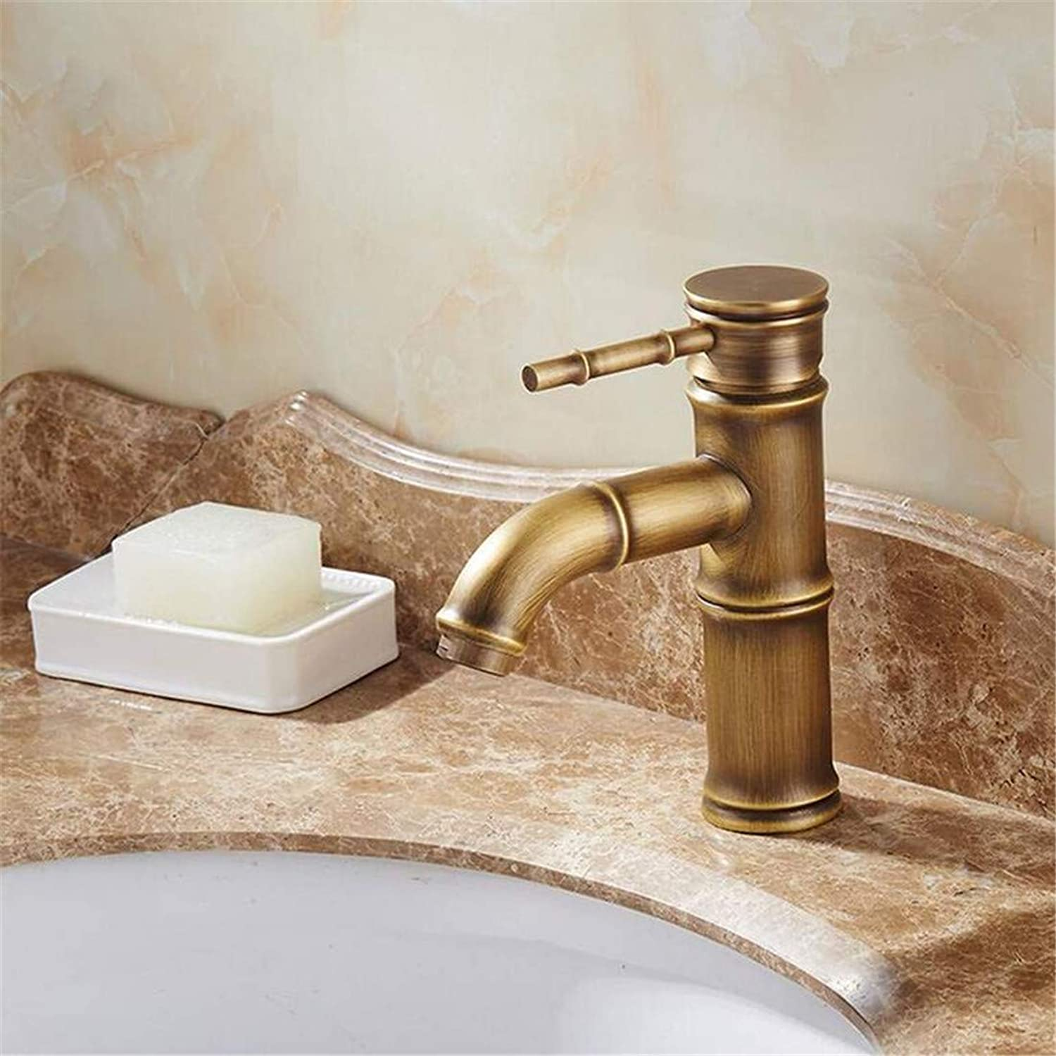 Kitchen Brass Bathroom Retro Faucet Single Handle Bamboo Water Tap Antique Bronze Finish Brass Basin Sink Faucet