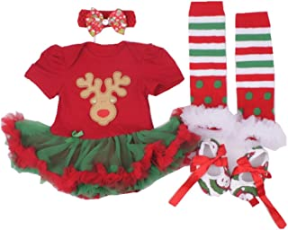 Baby Girls' Newborn 1st Christmas Onesie Costume Outfits Tutu Dress 4PCs