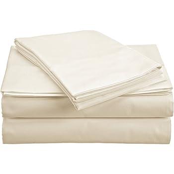 The Green Farmer 100% Organic Cotton Sheet Set Queen Size GOTS Certified Organic Sheets 400TC,Ivory Yellow Sheet Set