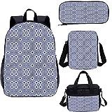 Marroquí 15 pulgadas mochila escolar y bolsa de almuerzo, cuadrícula a cuadros Desgin libreros 4 en 1