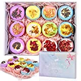 12 Bath Bombs Gift Set with Dry Flowers, Natural & Organic Essential Oils Bath Bombs, Fizzy Spa Moisturizes Skin, Bubble Bath Bombs for Kids Women Birthday Valentines Mother's Day (12 x 2.8 oz)