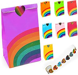 Viccess Sacchetti Regalo Carta, 48 Piccolo Sacchetti Caramelle Carta Mini Sacchetti Regalo di Carta con 100 Adesivi Utiliz...