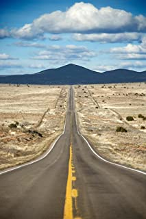 Long Highway Through Desert Landscape in Texas Photo Photograph Cool Wall Decor Art Print Poster 24x36