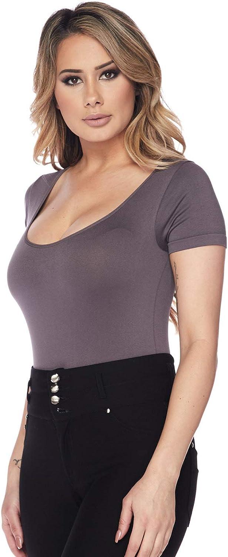 Women's Scoopneck Short Sleeve Seamless Bikini Cut bottom Bodysuit (Color Shark, One Size)