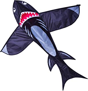 Zhuoyue Shark Kite for Kids and Adults, Easy to Fly 3D Nylon Kite Beach Park, Ripstop Fabric and Single Line Kite with Flying Line