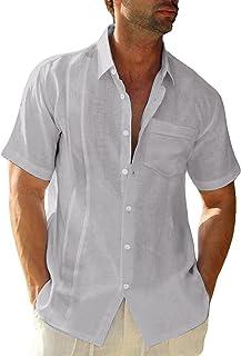 LVCBL Men's Short Sleeve Henley Summer Shirt Men Casual Shirt with Breast Pocket Regular Fit Men Shirts