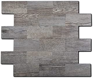Peel and Stick Tile Backsplash, PVC Gray Rustic Backsplash Wood Tile for Kitchen Peel and Stick (13