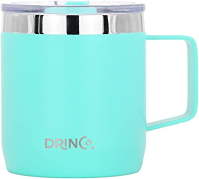 DRINCO 14 oz Coffee Mug, Vacuum Insulated Camping Mug with Lid, Double Wall Stainless Steel Travel Tumbler Cup, Coffee Thermos Outdoor, Teal
