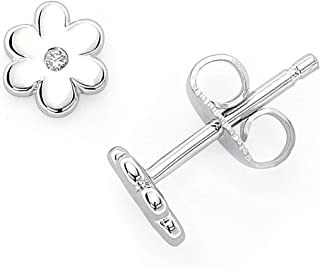 925 Sterling Silver Diamond Accent Flower Girls Stud Earrings (I Color, I1 Clarity)