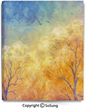 Large Canvas Prints Wall Art Oil Paintings Autumn Trees Gulls Skying in Hazy Sky Watercolor Paintbrush Fall Artwork Modern Classic Giclee Pictures for Home Decor 24x36inch Blue Marigold Yellow
