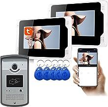 WiFi Video Deurbel, 7 Inch Tuya APP Ontgrendel 1080P Nachtzicht Video Deurtelefoon, Intercom,1 camera + 2 display