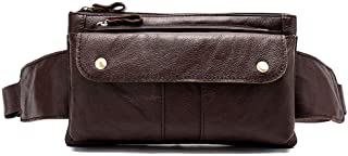 Oivias Waist Pack-Men's Waist Pockets, Vintage Leather Shoulder Bag, Outdoor Multi-Function Crossbody Bag, Chest Bag, Waist Bag(Size:23.5 * 4 * 13.5cm) (Color : Brown)
