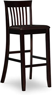 Benjara Mission Back Wooden Barstool with Leatherette Seat, Brown