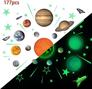 Glow Planets and Stars, Bright Solar System Wall Stickers -Sun Earth Mars and so on,Glowing Ceiling Decals for Bedroom Living Room,Shining Space Decoration for Kids for Girls and Boys