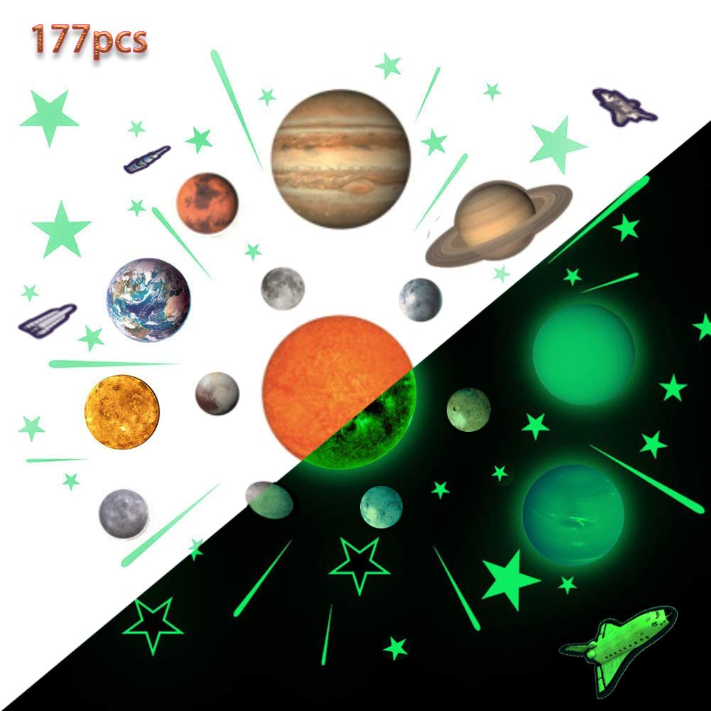 Glow Planets And Stars Bright Solar System Wall Stickers Sun Earth Mars And So On Glowing Ceiling Decals For Bedroom Living Room Shining Space Decoration For Kids For Girls And Boys Buy Online