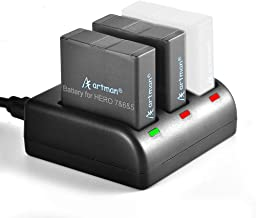 Artman 1480mAh Replacement Batteries 2-Pack and 3-Channel LED USB Charger Compatible with Hero 7 Black,Hero 6 Black,Hero 5...