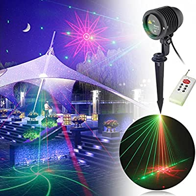 LEEPO Waterproof Christmas Holiday LED Landscape Projector Moves Automatically 8 Patterns Decoration Light(8RGB)