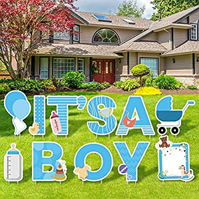 Elcoho 11 Pieces IT'S A Boy Blue Yard Signs with Stakes Includes Letters, Ballon, Baby Bottle, Baby Pacifier Sign for Outdoor Decoration, Gender Reveal Baby Shower, Party Decoration