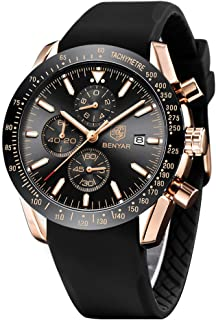 Men's Watches BENAYR Casual Chronograph Analog Quartz Waterproof Sports Watches Rubber Strap...
