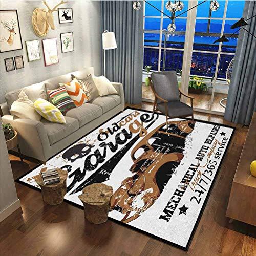 Cars Premium Rug Best Long Carpet for Bedroom Floor Old Garage Mechanical Auto Repairs Truck Company Skull Grunge Display Pale Brown Black White19 x 33 Inch