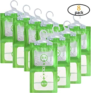 Hapy Shop 8 Pack Wardrobe Hanging Hygroscopic Anti-Mold Deodorizing Moistureproof Desiccant Hanging Bag for Kitchen Bathroom,Dehumidification Process Could be Witness