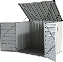 Click-Well 5x3 Metal Storage Shed Kit. Low-Profile Horizontal, Ideal for Trash (2x64gal), Garden Tools, BBQ Grills, Firewood, Kid's Bikes/Outdoor Toys, Mowers, Well Pump, Pool Pump/Filter, Animal Feed
