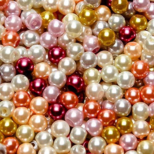 TOAOB 500 Stück 6mm Glasperlen Runde Schmuckperlen Sortierte Kunstperlen Mehrfarbig Glas Perlen Bastelperlen für Schmuckherstellung