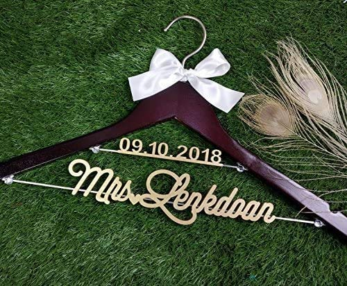 Personalized Bridal Gift, Rustic Wood Date and Name Lettering Wedding Dress Hanger, Bridesmaid Dress Hanger