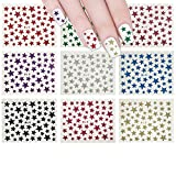 ALLYDREW Glitter Stars Nail Stickers Sparkly Nail Art (10 sheets)